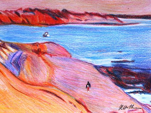 Shark Bay Landscape, Original Crayola Crayon, Vintage Frame A4