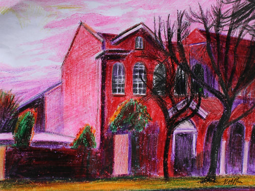 Villa Maria Hostel, Original Crayola Crayon, Wooden Frame, A4