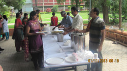 Guests relax with snacks