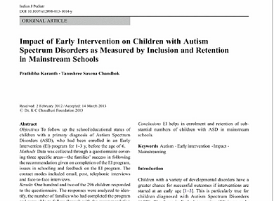 """research papers on autism in children The kids who beat autism """"those of us who work closely with children with autism other research has shown that autistic children with."""