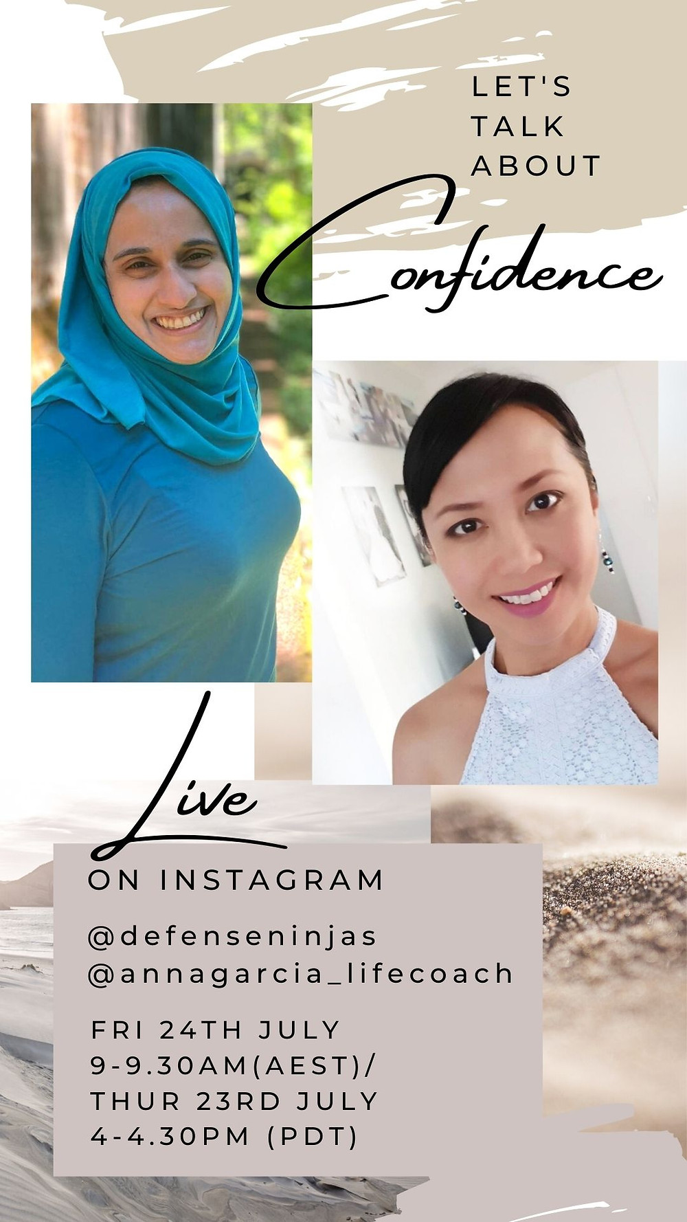 I am a guest speaker with @defenseninjas talking about Confidence LIVE on instagram this Friday 24 July 9-9.30am AEST