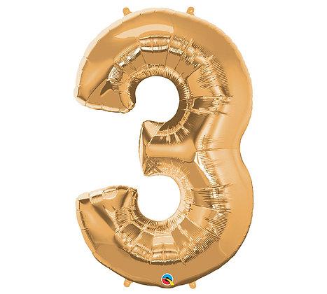 Number 3 Mylar Balloon