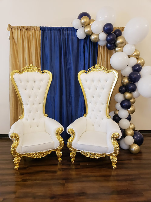 King*Queen Throne Chair-Gold/White