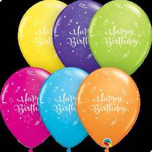 Happy Birthday Shining Star Print Qualatex Balloons
