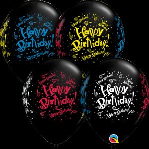 Happy Birthday Blast Print Qualatex Balloons