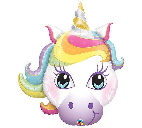 Rainbow Unicorn Face Qualatex Balloon