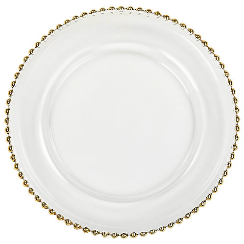 Beaded Glass Charger Plate - Gold Trim