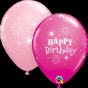 Happy Birthday Sparkle Print Qualatex Balloons