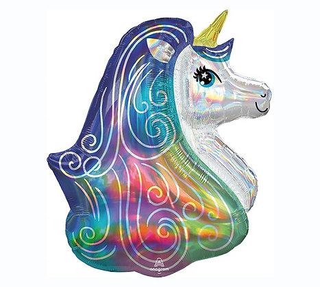 Iridescent Rainbow Unicorn Head Balloon