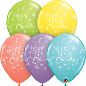 Happy Birthday Sparkles & Swirls Print Qualatex Balloons
