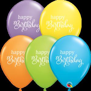Happy Birthday Simple Print Qualatex Balloons