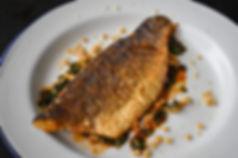 Crispy Skinned Sea Bass with Thai Tamarind-Mint Salsa