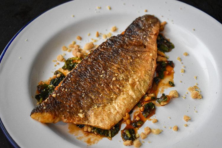 Crispy Skinned Sea Bass with Thai Tamarind-Mint Salsa