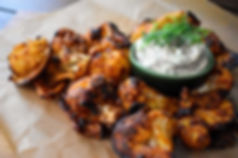 Cauliflower-Coconut Buffalo Wings with a Cooling Chimichurri-Dill Dip (Vegan)