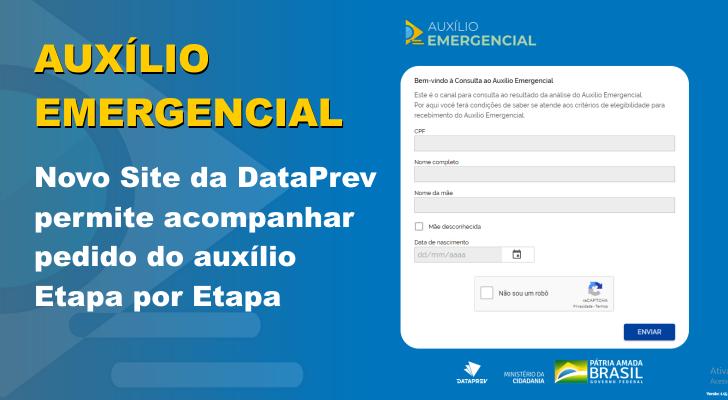 Novo site da empresa de dados responsável pelo processamento dos pedidos de auxílio emergencial