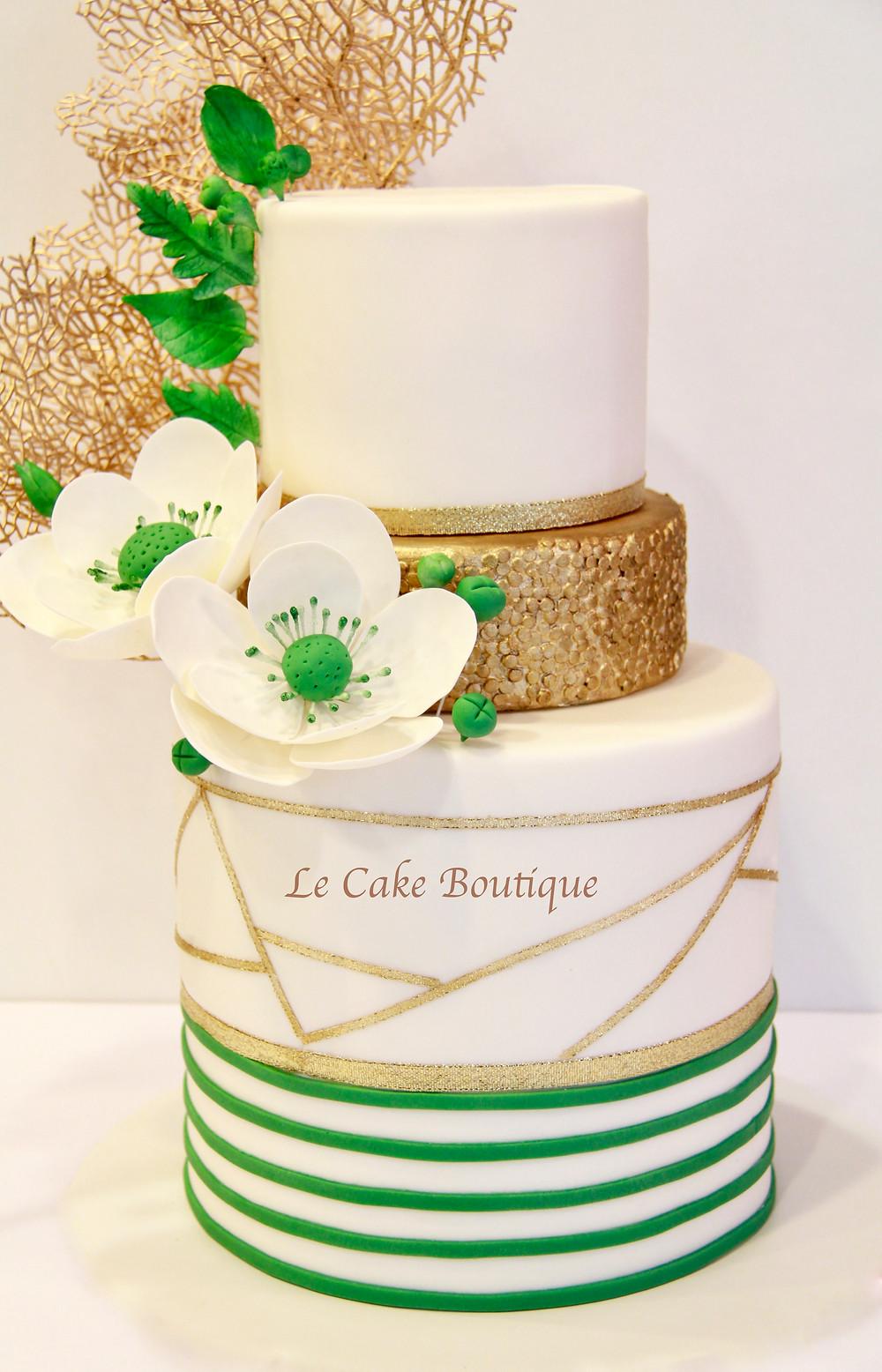gold green cake