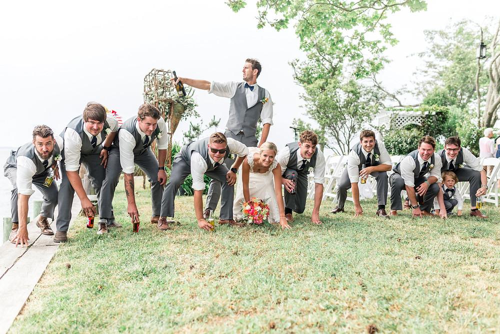 football wedding pose