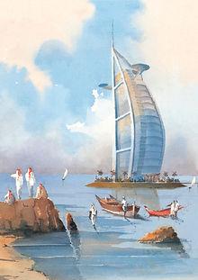 Dubai souvenir Watercolor Aquarelle Paintings Art Burj al Arab