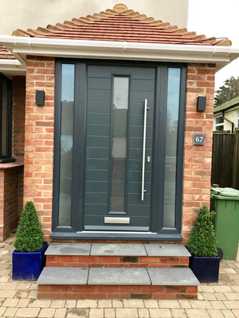 Porch with timber core front door and side lights