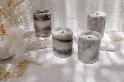 Marble soy wax candles