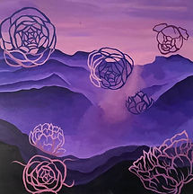 Violet Flowers Purple pink mountains