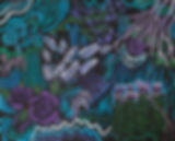 purple roses, green pines, abstract designs, blue turquoise paint