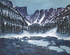 Winter mountains lake rocky mountain naional park