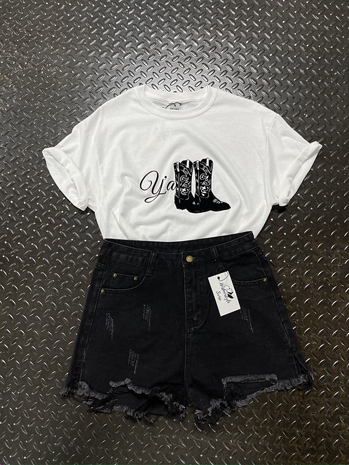 Casual Rise Ripped Shorts