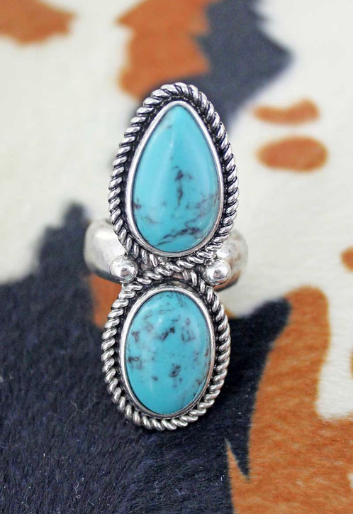 HIDDEN HILLS TURQUOISE DUAL STONE RING