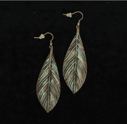Earrings - Feather Patina Drop