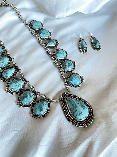 Turquoise Teardrop Stone Bib Necklace and Earring Set
