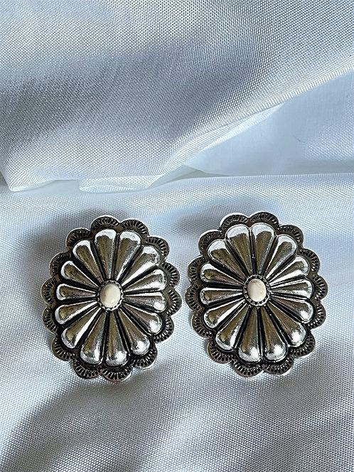 Natural Casper Concho Silvertone Earrings