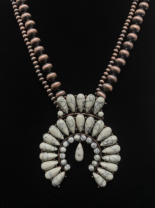 Chinle Ivory Naja Copper Pearl Necklace Earring Set