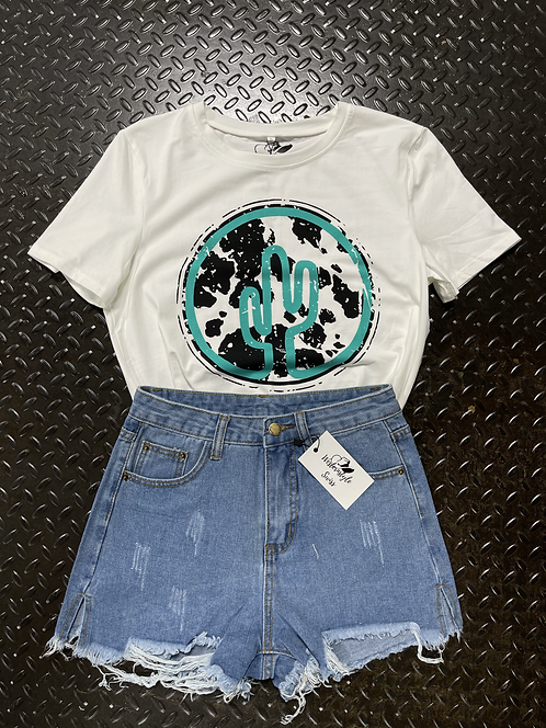 Casual Rise Ripped Jeans Shorts