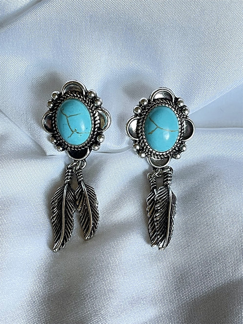 Feather Canyon Turquoise and Silvertone Earrings