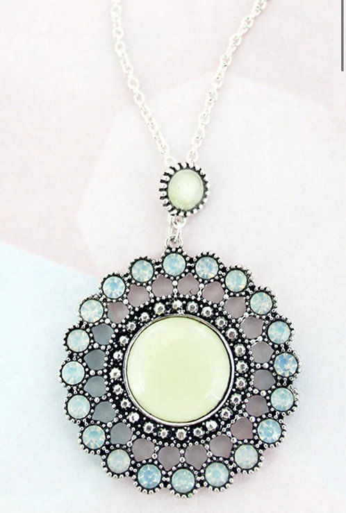 Mother of Pearl and Crystal Accented Silvertone Disk Necklace