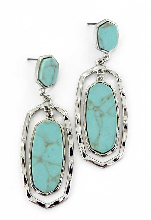 TURQUOISE AND SILVERTONE OVAL EARRINGS