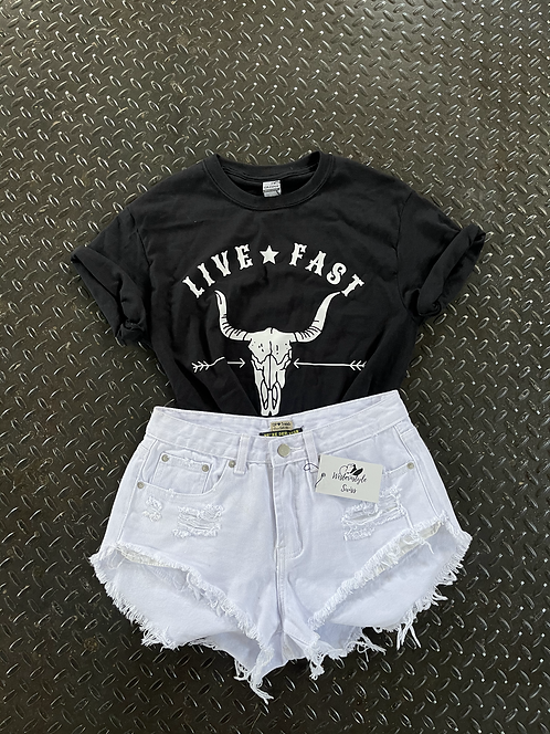 High Waisted Ripped Fringed Shorts