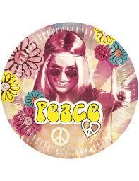 6 assiettes hippie 25 cm