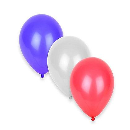 50 ballons tricolores bleu blanc rouge
