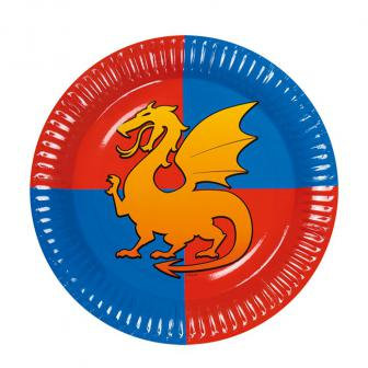 6 Assiettes en carton dragon 23 cm