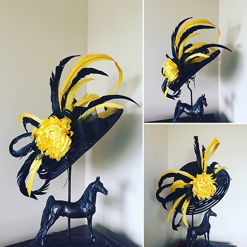 Black, Yellow, and Gold Sinamay and Crinoline Hat