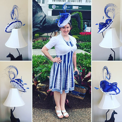 Blue and White Disc Fascinator