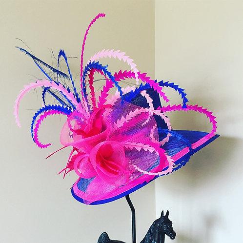 Royal Blue & Pink Sinamay Hat