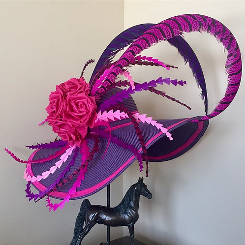Purple Southern Belle Hat with Pink Pheasant Feathers