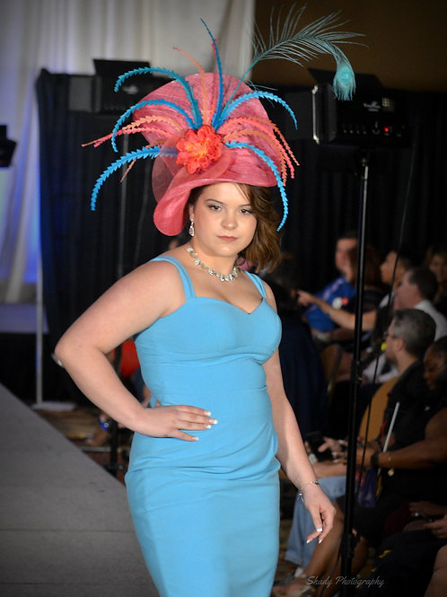 Coral and Teal Bonnet Fascinator