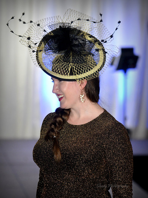 Black and Gold Disc Fascinator
