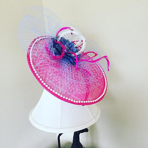 Pink, Periwinkle, & Pearls Fascinator