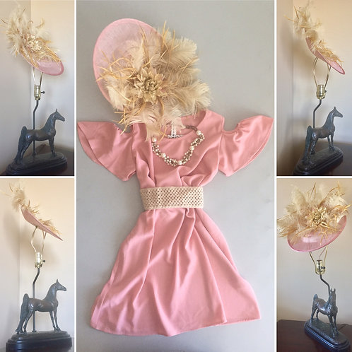 Light Pink Fascinator With Taupe Feathers