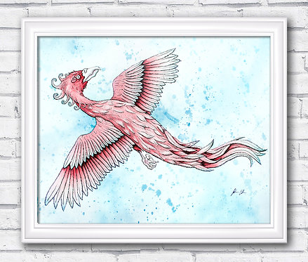 Phoenix Watercolor Fantasy Print